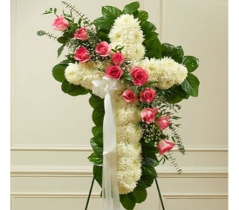 White Cross with Roses By Color in Princeton, Plainsboro, & Trenton NJ, Monday Morning Flower and Balloon Co.