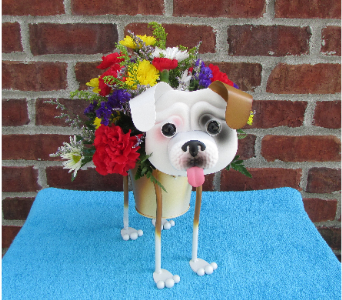 MINIATURE BULLDOG PLANTER-for local delivery onl in Circleville OH, Wagner's Flowers