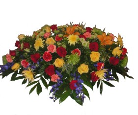 Fiesta Casket Spray in Lake Charles LA, A Daisy A Day Flowers & Gifts, Inc.