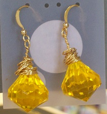 Yellow Faceted Earrings in Lawrence KS, Englewood Florist