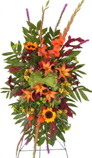 Lovely Sunset Standing Spray in Lake Charles LA, A Daisy A Day Flowers & Gifts, Inc.