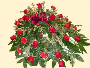 Simply Red Casket Spray in Lake Charles LA, A Daisy A Day Flowers & Gifts, Inc.