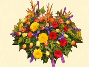 Outdoor Paradise Casket Spray in Lake Charles LA, A Daisy A Day Flowers & Gifts, Inc.