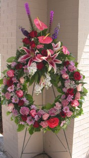 Think Pink Standing Wreath in Lake Charles LA, A Daisy A Day Flowers & Gifts, Inc.