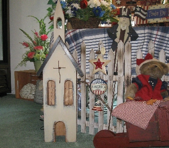 Wooden Lighted Church in Oakland City IN, Sue's Flowers & Gifts