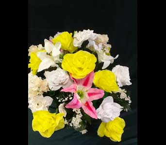 Graveside Cone - Silk Arrangement w/Lillies - Sm in Pensacola FL - R & S Crafts & Florist