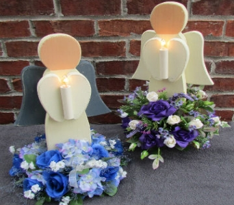 MEDIUM LIGHTED WOODEN ANGEL-for local delivery onl in Circleville OH, Wagner's Flowers