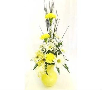 Yellow and White Bouquet in Warren MI, Downing's Flowers & Gifts Inc.