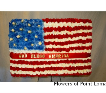 American Flag in San Diego CA, Flowers Of Point Loma