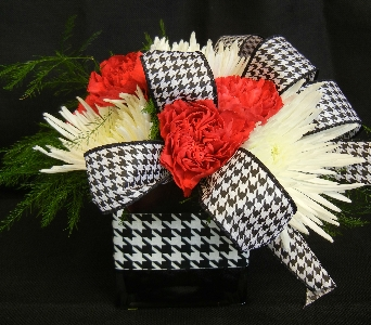 Red Cube with Houndstooth in Tuscaloosa AL, Stephanie's Flowers, Inc.