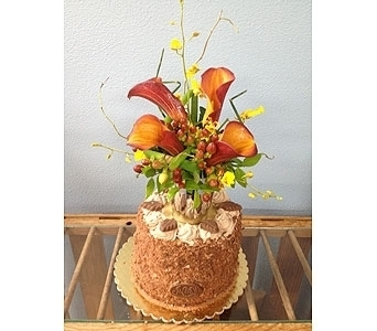German Chocolate Cake with flowers in Portland OR, Portland Florist Shop