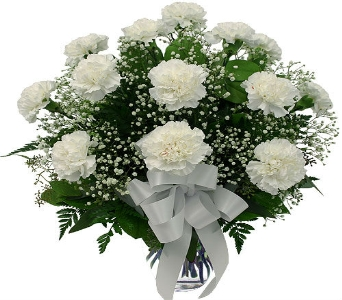One Dozen White Carnations with Accent in Manhattan KS, Westloop Floral