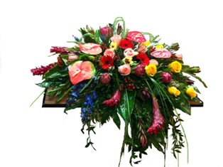 Leisurely Tropics Casket Spray in Lake Charles LA, A Daisy A Day Flowers & Gifts, Inc.