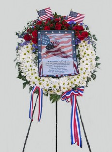 Soldier's Prayer Wreath on Stand in Lake Charles LA, A Daisy A Day Flowers & Gifts, Inc.