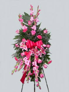Pink Gazers Standing Spray in Lake Charles LA, A Daisy A Day Flowers & Gifts, Inc.