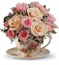 Teleflora's Victorian Teacup Bouquet in Chelsea MI, Chelsea Village Flowers
