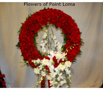 Red roses wreath in San Diego CA, Flowers Of Point Loma