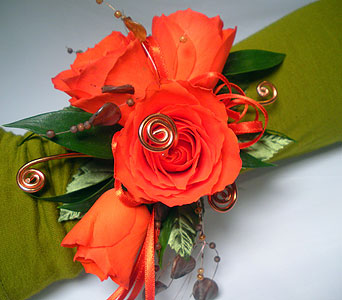 Sunset Swirls Wrist Corsage in Detroit and St. Clair Shores MI, Conner Park Florist