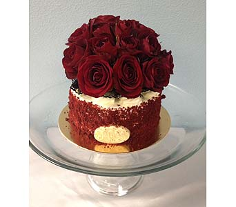 Red Velvet Cake with flowers in Portland OR, Portland Florist Shop