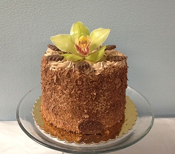 German Chocolate Cake with orchid in Portland OR, Portland Florist Shop