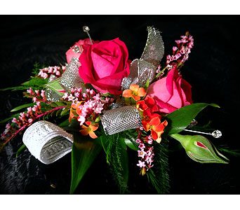 Pink Sunrise Wrist Corsage in Detroit and St. Clair Shores MI, Conner Park Florist
