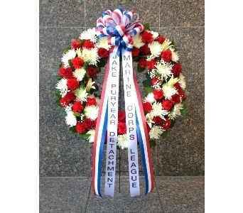 36 INCH RED WHITE AND BLUE WREATH in Arlington VA, Twin Towers Florist