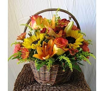 Fall Wicker Basket in San Diego CA, The Floral Gallery