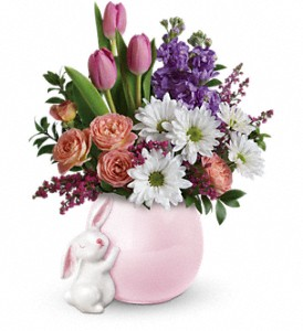Teleflora's Send a Hug Bunny Love Bouquet in Oakland MD, Green Acres Flower Basket