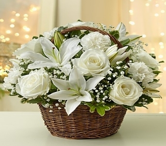 All White Basket  in Princeton, Plainsboro, & Trenton NJ, Monday Morning Flower and Balloon Co.