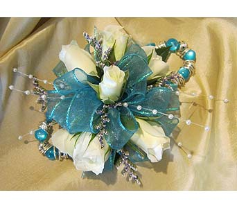 White with Teal and Pearl Accents in Wake Forest NC, Wake Forest Florist