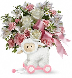 Teleflora's Sweet Little Lamb - Baby Pink in Oakland MD, Green Acres Flower Basket