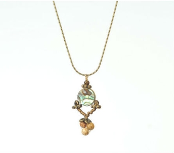Abalone and Jasper Woodsprite Necklace in Traverse City MI, Teboe Florist