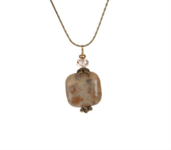 Fossil Coral Woodsprite Necklace in Traverse City MI, Teboe Florist