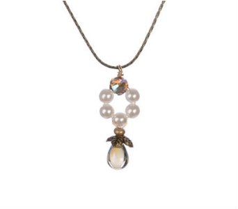 Pearl and Glass Drop Necklace - Black Diamond in Traverse City MI, Teboe Florist