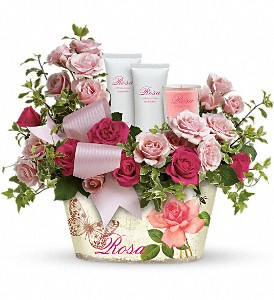 Teleflora's Everything Rosy Gift Bouquet in New Berlin WI, Twins Flowers & Home Decor