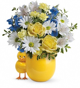 Teleflora's Sweet Peep Bouquet - Baby Blue in Inverness FL, Flower Basket