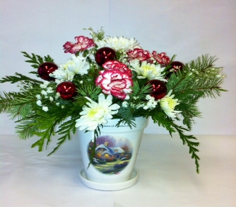 Thomas Kinkade Christmas planter in Anchorage AK, Flowers By June
