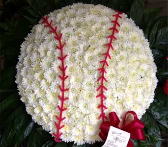 Baseball Custom Tribute Funeral Arrangement in New City NY, Bassett Flowers and Gifts