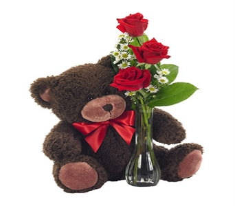 ELEGANT BUD VASE WITH RED ROSES AND BEAR BOUQUET in Vienna VA, Vienna Florist & Gifts