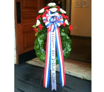 20 INCH RED WHITE AND BLUE SCHOOL WREATH in Arlington VA, Twin Towers Florist