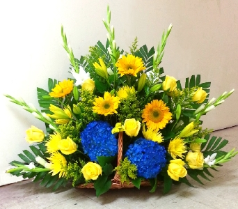 BLUE AND GOLD FIRESIDE BASKET in Arlington VA, Twin Towers Florist