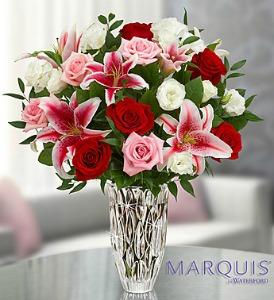 Marquis by Waterford Red Rose and Lily Bouquet in Lemont IL, Royal Petals