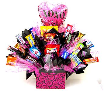 "CB293  ""Hot Pink Hugs & Kisses"" Candy Bouquet in Oklahoma City OK, Array of Flowers & Gifts"