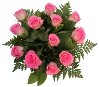 Pink Longstem Roses in Handtied Bouquet in Grimsby ON, Cole's Florist Inc.