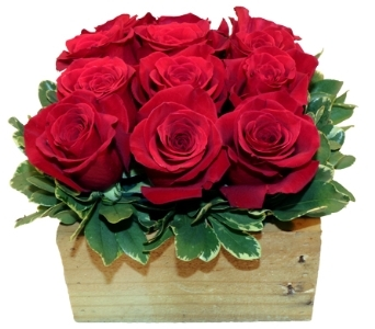 Roses (Handmade Square Wood Box) in New York NY, A University Floral Design
