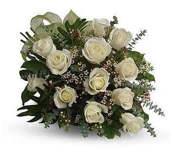 12 White Roses wrapped in Pembroke ON, Melton Flowers & Things
