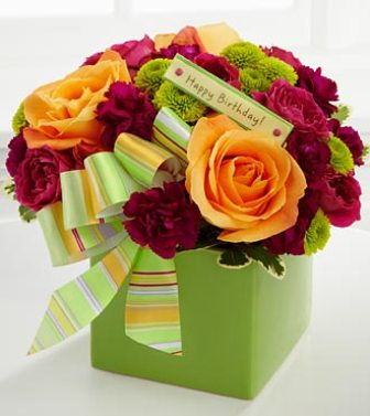 Birthday Bouquet Green Vase in Camp Hill and Harrisburg PA, Pealer's Flowers