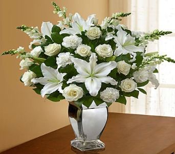 All White Arrangement in Silver Vase in El Cajon CA, Conroy's