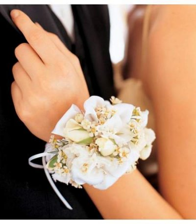 Mixed White Wristlet in Camp Hill and Harrisburg PA, Pealer's Flowers