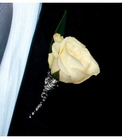 Rose Boutonniere with Touch of Silver in Camp Hill and Harrisburg PA, Pealer's Flowers